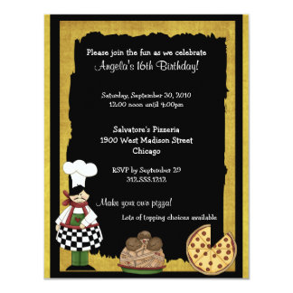 Sweet 16 Pizza Party Invitation