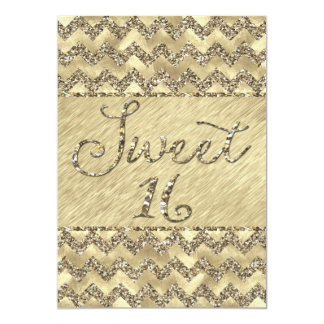 Sweet 16 Platinum Glitter Chevrons Card