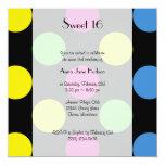 Sweet 16 - Polka Dots (Spots) - Pink Green 5.25x5.25 Square Paper Invitation Card