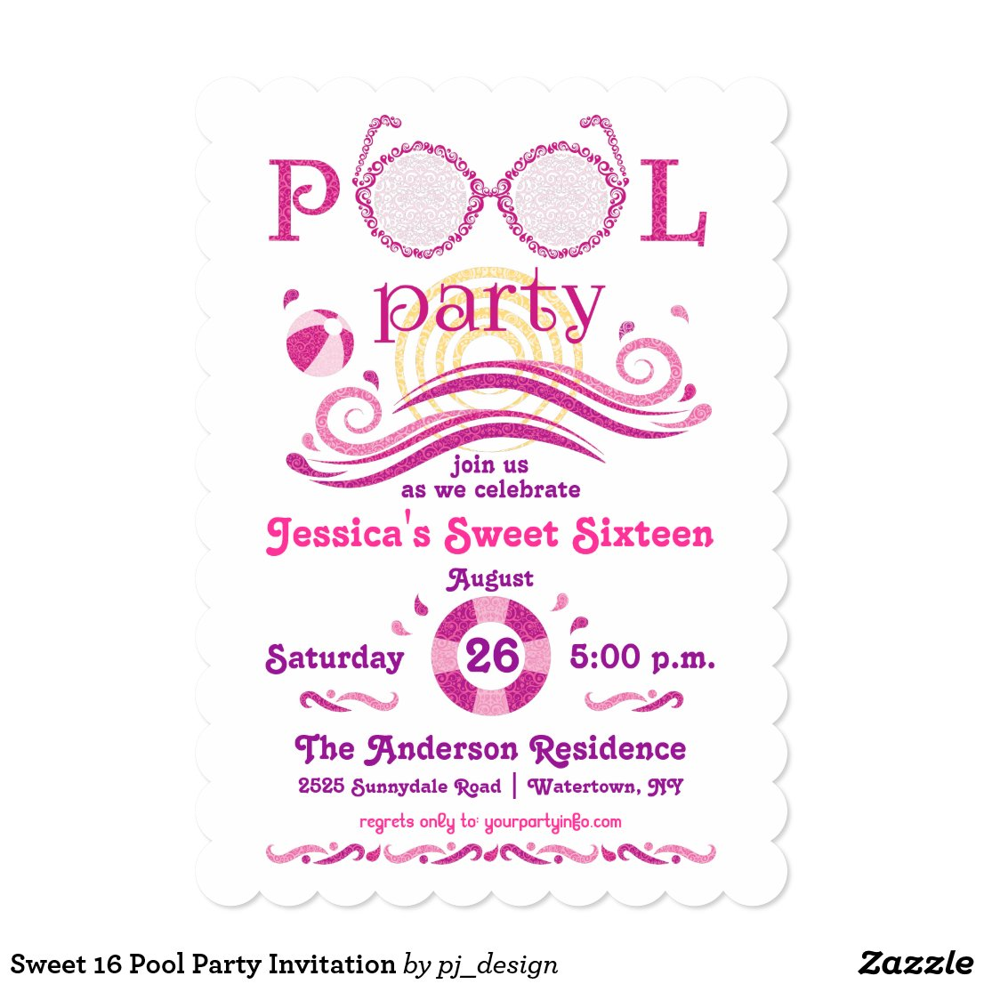Sweet 16 Pool Party Invitation