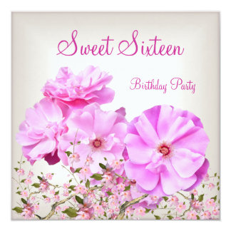 Sweet 16 Pretty Pink Flowers Cherry Bossom 2 Card