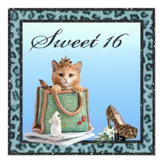 Sweet 16 Princess Kitten Blue Faux Leopard Fur Card