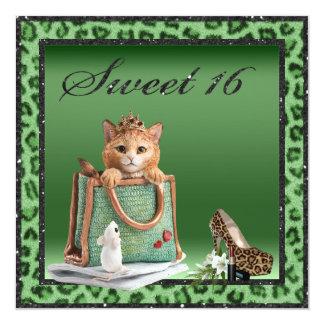 Sweet 16 Princess Kitten Green Faux Leopard Fur Card