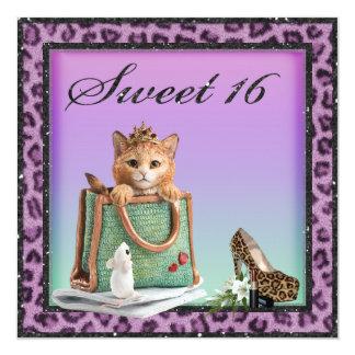 Sweet 16 Princess Kitten Purple Faux Leopard Fur Card