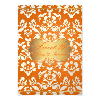 Sweet 16/ princess/pearl damask/crushed orange card
