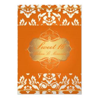 Sweet 16/ princess/pearl damask/crushed orange card