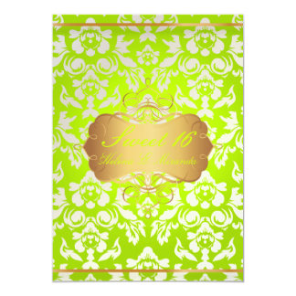 Sweet 16/ princess/pearl damask 5x7 paper invitation card