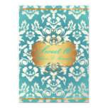 Sweet 16/ princess/pearl damask/teal 5x7 paper invitation card