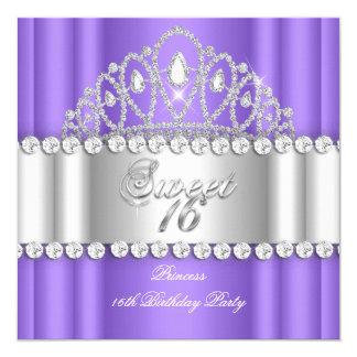 Sweet 16 Princess Purple White Diamond Tiara 5.25x5.25 Square Paper Invitation Card