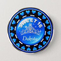 Sweet 16 Princess Tiara Love Hearts | blue Pinback Button