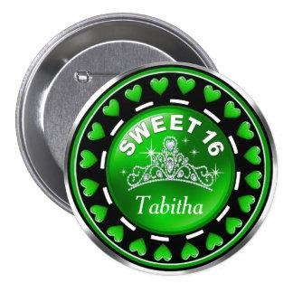 Sweet 16 Princess Tiara Love Hearts | green Pinback Button