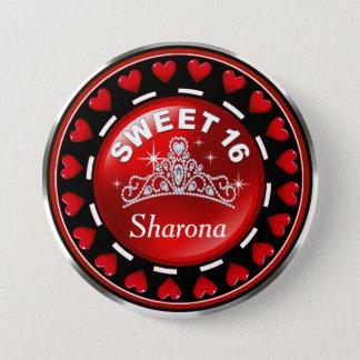 Sweet 16 Princess Tiara Love Hearts | red Pinback Button