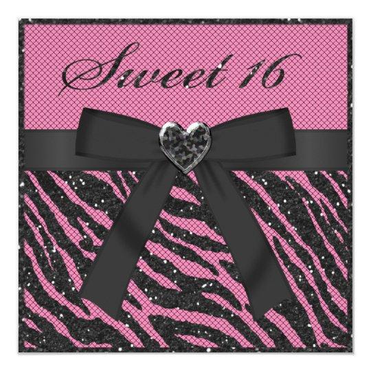 Sweet 16 Printed Zebra Stripe Glitter, Jewel & Bow Card