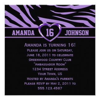 Sweet 16 Purple and Black Zebra Purple Heart Custom Invitations