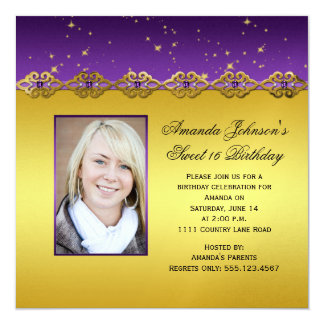Sweet 16 Purple and Gold Amethysts Stars Card