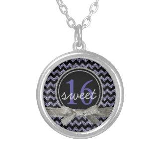 Sweet 16 Purple Black Chevron Pattern Glitter Look Necklace