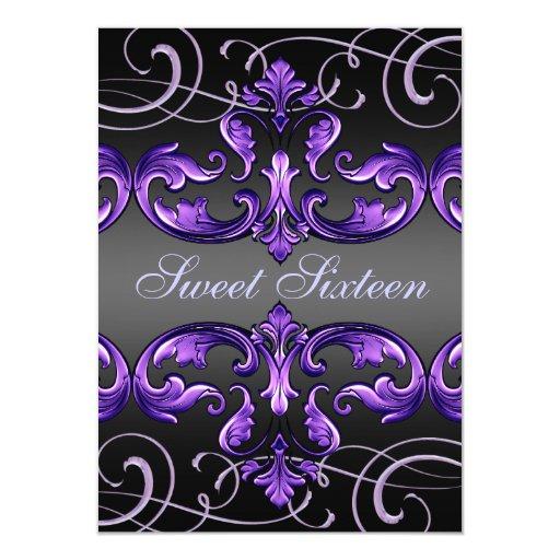 Sweet 16 Purple Damask & Tiara Birthday Invite