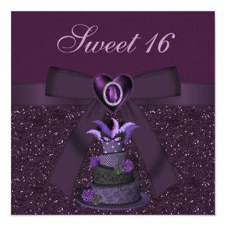 "Sweet 16 Purple Diva Cake & Jewel Heart Invites 5.25"" Square Invitation Card"