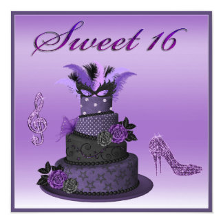 Sweet 16 Purple Diva Cake, Sparkle High Heels 5.25x5.25 Square Paper Invitation Card