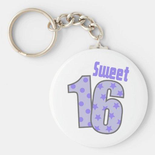 Sweet 16 (Purple Dots And Stars) Keychain