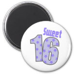 Sweet 16 (Purple Dots And Stars) Refrigerator Magnets
