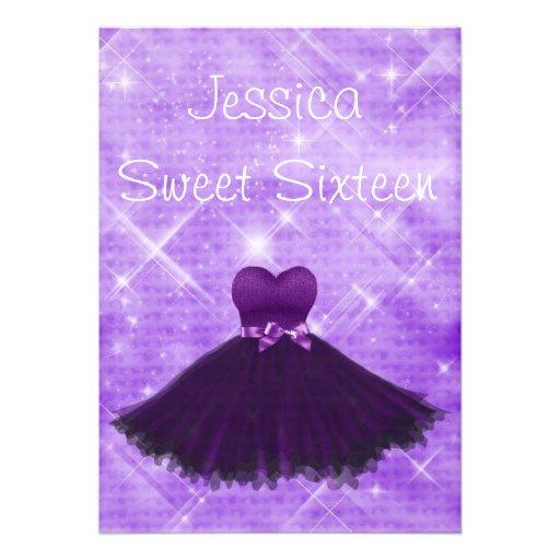 Sweet 16 Purple Dress Silver Glitter Birthday Custom Announcement