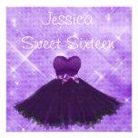 Sweet 16 Purple Dress Silver Glitter Birthday Custom Invitations