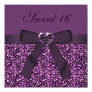 """Sweet 16 Purple Gemstones & Heart Jewel Invites 5.25"""" Square Invitation Card"""