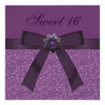 Sweet 16 Purple Glitter & Flower Jewel Invites