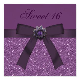 """Sweet 16 Purple Glitter & Flower Jewel Invites 5.25"""" Square Invitation Card"""