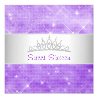 Sweet 16 Purple Glitter Silver Jewel Tiara Party 1 Personalized Announcement