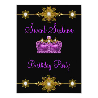 Sweet 16 Purple Gold Black Princess Event Card