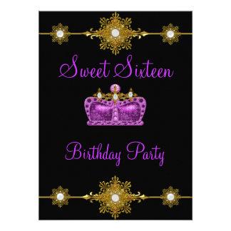 Sweet 16 Purple Gold Black Princess Event Invitations