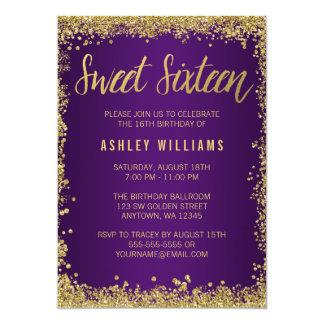 Sweet 16 Purple Gold Glitter Birthday Card
