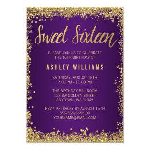 Purple Gold Sweet 16 Invitations Zazzle