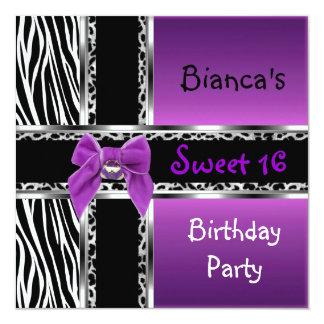 "Sweet 16 Purple Pink Silver Black Zebra Leopard 5.25"" Square Invitation Card"