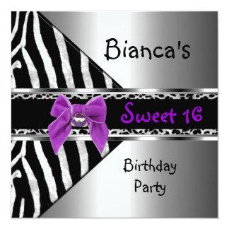 """Sweet 16 Purple Silver Black Zebra Leopard 5.25"""" Square Invitation Card"""