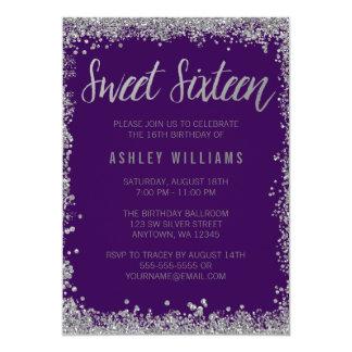 Sweet 16 Purple Silver Faux Glitter Birthday Card
