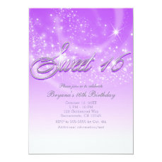 SWEET 16 Purple & Silver Sparkle Stars Party Card
