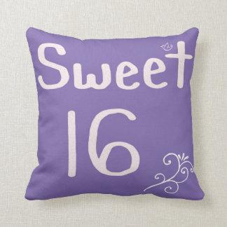 Sweet 16 Purple Throw Pillow