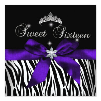 Sweet 16  Purple Zebra Black Diamonds image Card
