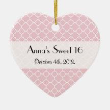 Sweet 16 - Quatrefoil Shape - Pink White Christmas Tree Ornament
