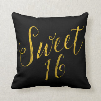 Sweet 16 Quote Faux Gold Foil Sparkly Template Throw Pillow
