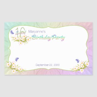 Sweet 16 Rainbow and Butterflies Birthday Party Rectangular Sticker