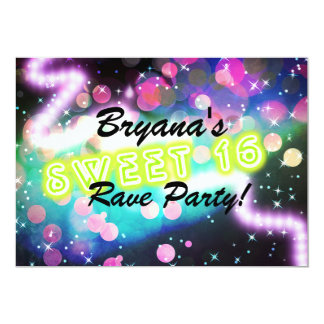 SWEET 16 Rave Club Neon Birthday Party invitation