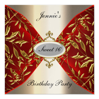 Sweet 16 red and metal Birthday Party Invitation