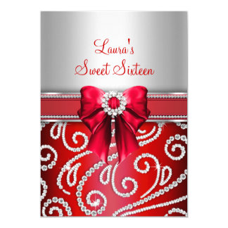 Sweet 16 Red Bow & Sparkle Diamond Announcements