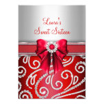 "Sweet 16 Red Bow & Sparkle Diamond Announcements 5"" X 7"" Invitation Card"