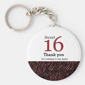 Sweet 16 red glitter keychain