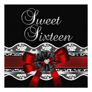 Sweet 16 Red Lace Silver Black Leopard Birthday Invitations